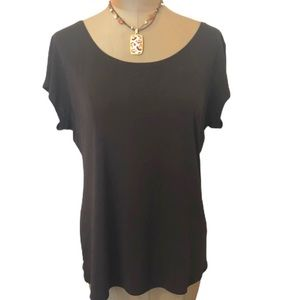 EILEEN FISHER Brown Cap Sleeve Washable Silk Top L